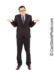 proud businessman make a disinterest gesture
