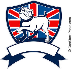 Proud English bulldog british flag - illustration of a Proud...