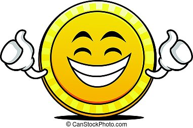 Proud face coin cartoon character