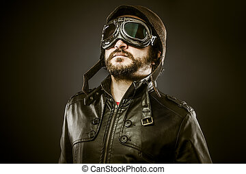 Proud, Fighter pilot with hat and glasses era, vintage