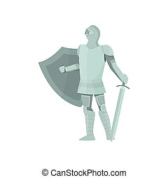 Proud figure of a knight in gray armor on a white background