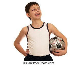 A teen with a ball in his left hand; isolated on the white background