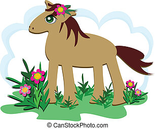 Proud Horse in a Flower Garden