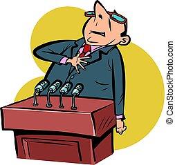 proud important speaker man on the podium comics illustration drawing