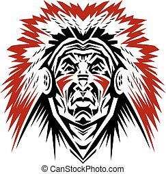 indian chief mascot - proud indian chief mascot with war...