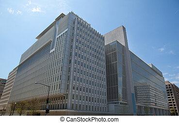 proud jednosměrný, protests., sever, usa., velmi, moderní, poloha, anti-globalization, ústředí, washington, ono, world bank, budova, častý, stěna