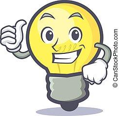Proud light bulb character cartoon