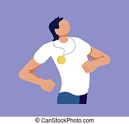 Proud Man is showing self-confidence and assurance by his pose. Isolated on purple. Flat Art Vector Illustration