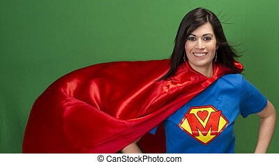 Proud Mom as Super Mother on Green Screen - Super Mother in...