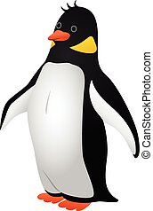 Proud penguin icon, cartoon style