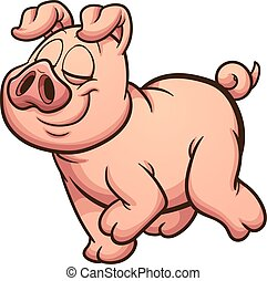 Proud pig - Proud cartoon pig walking. Vector clip art ...