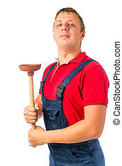 proud plumber with a rubber plunger on a white background