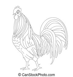 Proud Rooster Outline