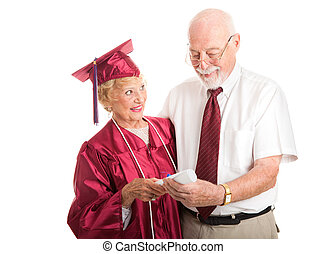 Proud Senior Graduate with Supportive Spouse