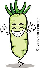 Proud white radish cartoon character