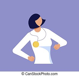 Proud woman is showing self-confidence and assurance by his pose. Isolated on purple. Flat Art Vector Illustration