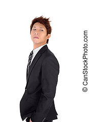 Proud young executive with confident and cool expression, closeup portrait over white background.