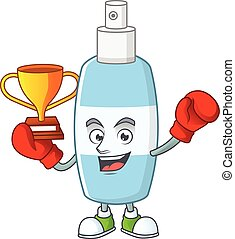 Proudly face of boxing winner spray hand sanitizer presented...