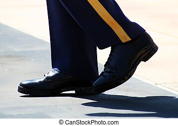 Proudly Marching Feet - A proud Guard walks the path along...