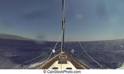 proue, nuageux, temps, voilier, mer