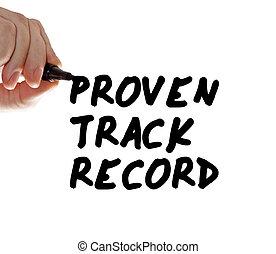 proven, ślad, rekord, wręczać pisanie