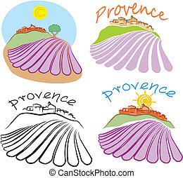 provencal emblem -a village on the hill, historical land of france