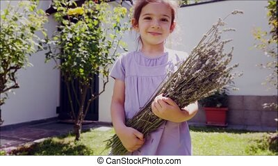 provence lavander background with people - a baby girl hold a bunch of lavandula or french lavanda .