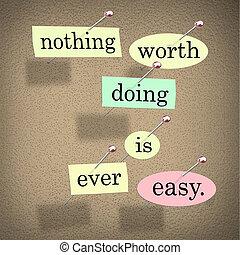 proverbe, citation, valeur, planche, facile, rien, jamais, ...