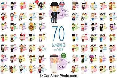 proverbe, différent, accueil, illustration, dessin animé, langues, vecteur, caractères, 70, mondiale, bonjour