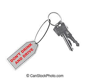 proverbe, don\'t, clés, voiture, boisson, conduire, gousset