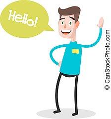 proverbe, eps10, bulle, réussi, conseiller, concept., caractère, jeune, affaires illustration, vecteur, parole, devant, homme affaires, vue., métier, bonjour, professionnel