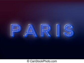 proverbe, eps10, image., paris, -, attracts, attention, néon, business., paris., signe, clair, vecteur, conception, lumineux, signe, ton