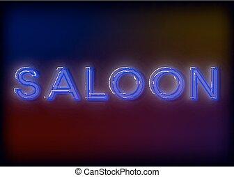 proverbe, eps10, .saloon, attracts, signe, -, business., attention, néon, incandescent, signe, bar, clair, vecteur, conception, lumineux, ton, image.