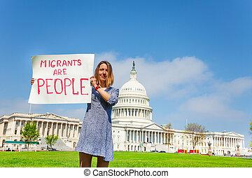 proverbe, migrants, gens, signe, protestataire, tenue