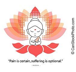 proverbe, namaste, douleur, séance, citation, quoique, certain, lotus., célèbre, souffrance, bouddha, sacré, optional., buddha-
