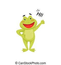 proverbe, onduler, patte, amical, plat, élément, gai, livre, vecteur, grenouille verte, salut, toad., enfants