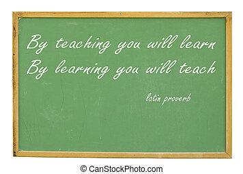 proverbe, pédagogique, latin, tableau