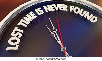proverbe, perdu, horloge, citation, jamais, illustration, temps, trouvé, 3d