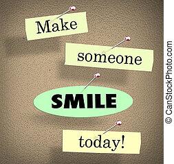 proverbe, quelqu'un, citation, faire, planche, sourire, bulletin, aujourd'hui