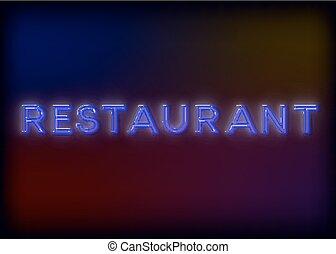 proverbe, restaurant., eps10, image., coloré, restaurant, signe, -, business., attention, néon, incandescent, signe, attracts, lumières, clair, vecteur, conception, lumineux, ton