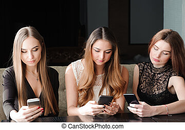 proverbe, smartphone, non, concept., jeune, téléphone, utilisation, life., dépendance, caucasien, femmes