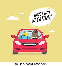 proverbe, valises, vacation., voiture, voyager, avoir, africaine, homme affaires, joyeux, gentil