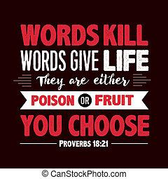 proverbe, vie, tuer, mots, donner