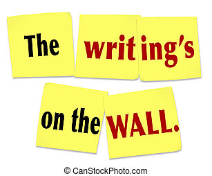 proverbe, writing's, mur, note collante, évident, clu, ...