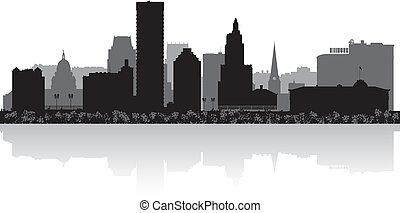 Providence city skyline silhouette - Providence USA city ...