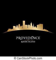 Providence Rhode Island city silhouette black background - ...