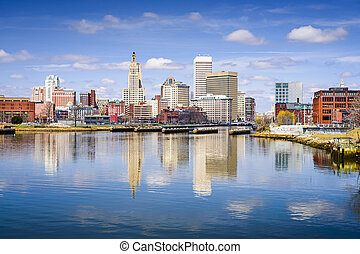 Providence, Rhode Island city skyline on the river.