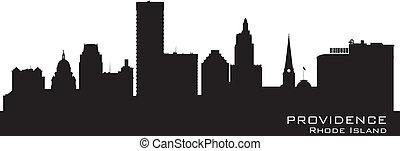 Providence, Rhode Island skyline. Detailed city silhouette....