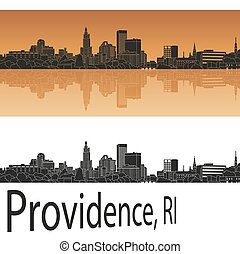 Providence, RI skyline - Providence skyline in orange ...