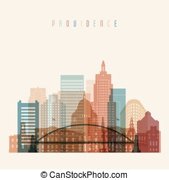 Providence state Rhode Island skyline detailed silhouette.